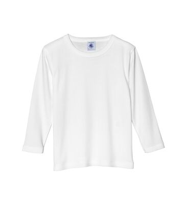Boy's long sleeve plain T-shirt Ecume white
