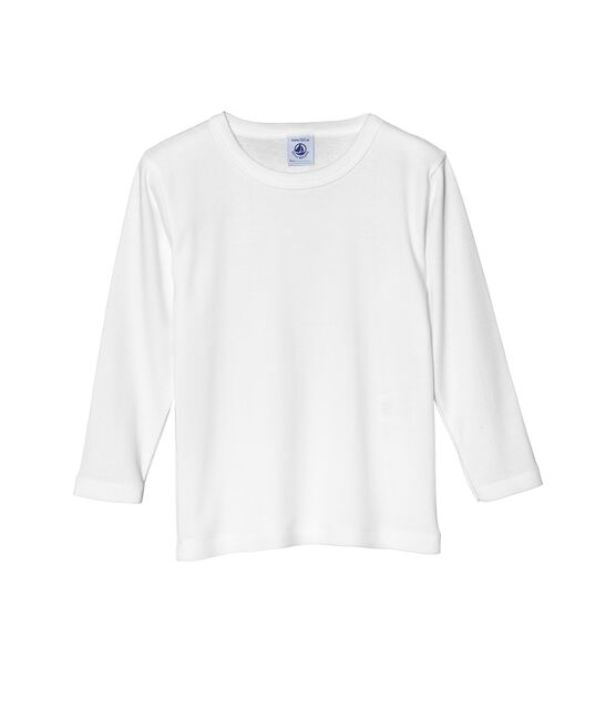 Boy's long sleeve plain T-shirt Ecume white
