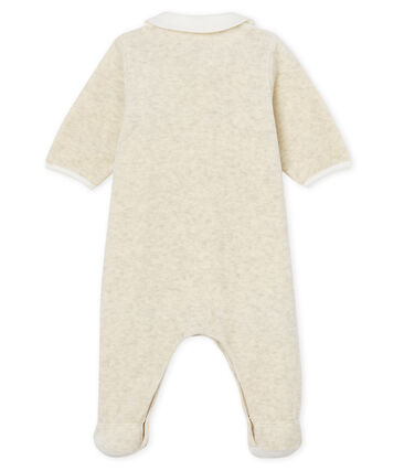 Unisex baby sleepsuit and bib in cotton velour Montelimar Chine grey