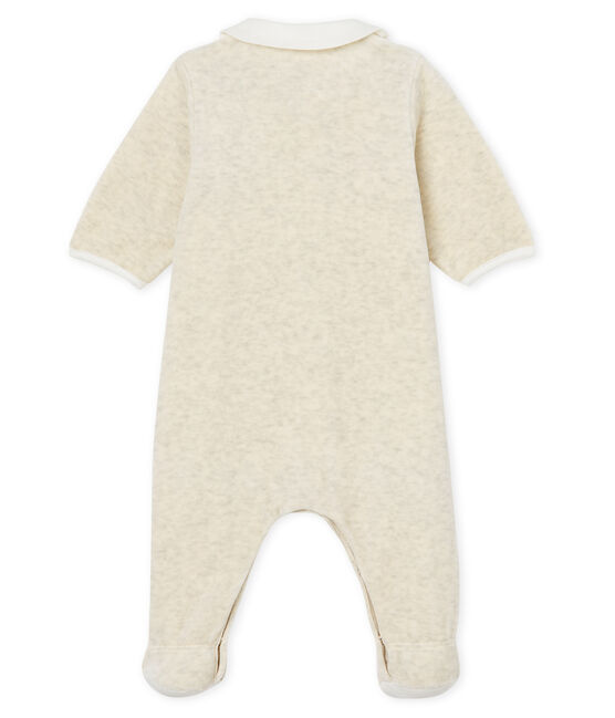 Unisex baby sleepsuit and bib in cotton velour Montelimar Chine grey