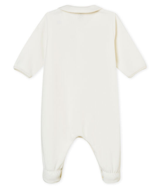 Unisex baby's plain cotton velour sleepsuit Marshmallow white