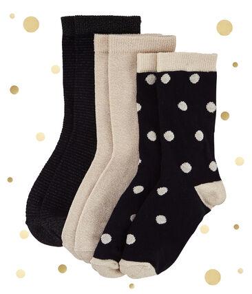 Set of 3 pairs of gold coloured socks . set