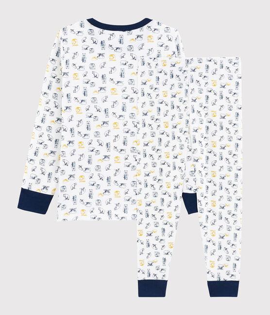 Pyjama ours polaire petit garçon en côte Marshmallow white / Multico white