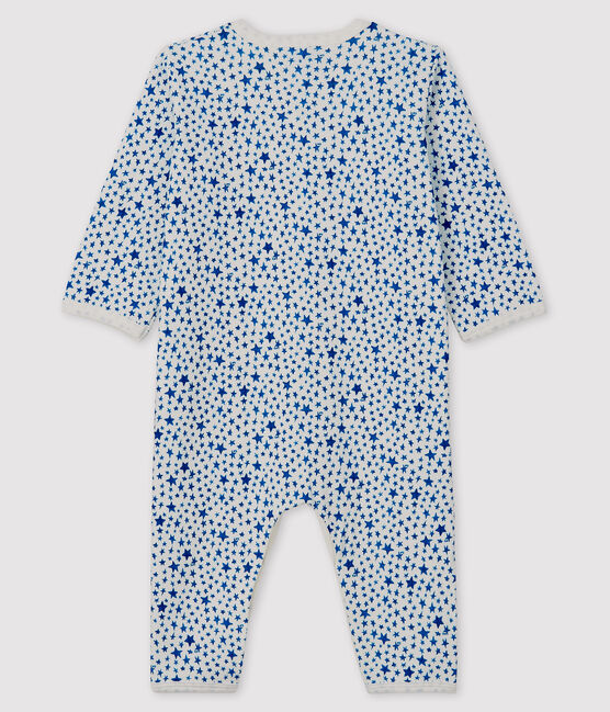 Babies' Blue Starry Tube-Knit Footless Sleepsuit Marshmallow white / Major blue