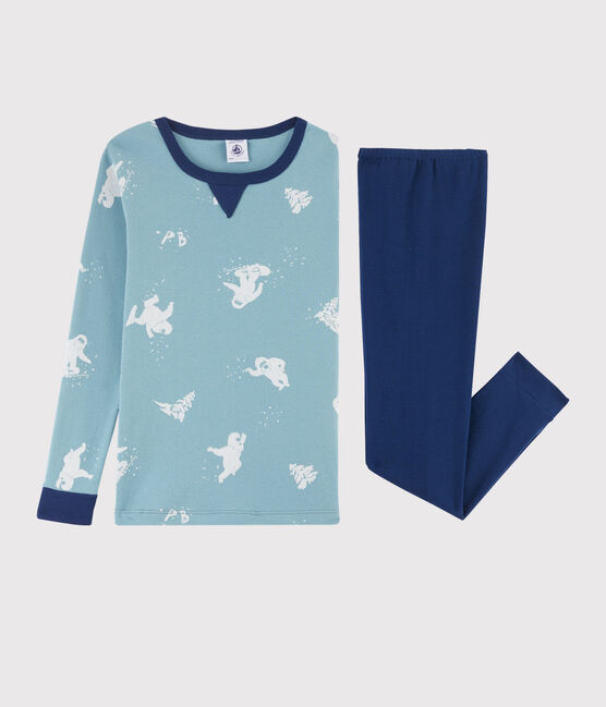 Boys' Yeti Print Snugfit Ribbed Pyjamas Medieval blue / Multico white