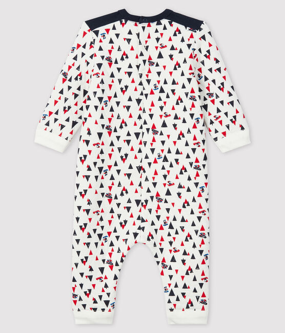 Baby boy's long playsuit Marshmallow white / Multico white