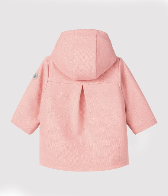 Girl's coat in wool fabric Cheek pink / Marshmallow white
