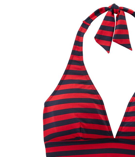 Women's one-piece sailor-stripe swimsuit Smoking blue / Terkuit red