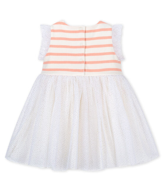 Baby girls' bi-material dress Marshmallow white / Patience pink