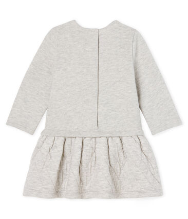 Baby Girls' Long-Sleeved Dual Material Dress Beluga grey