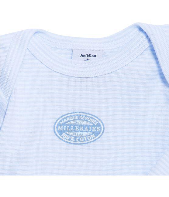 Baby boy long-sleeve bodysuit in milleraies stripe Fraicheur blue / Ecume white