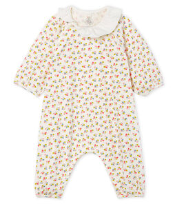 Baby Girls' Long Ribbed Jumpsuit Marshmallow white / Multico white