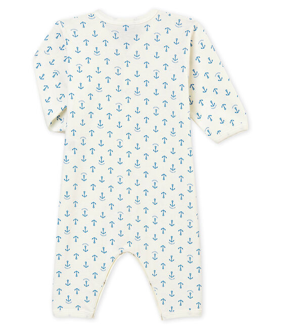 Baby boy's footless sleepsuit Marshmallow white / Alaska blue