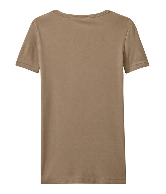 Women's original rib V-neck T-shirt Shitake brown