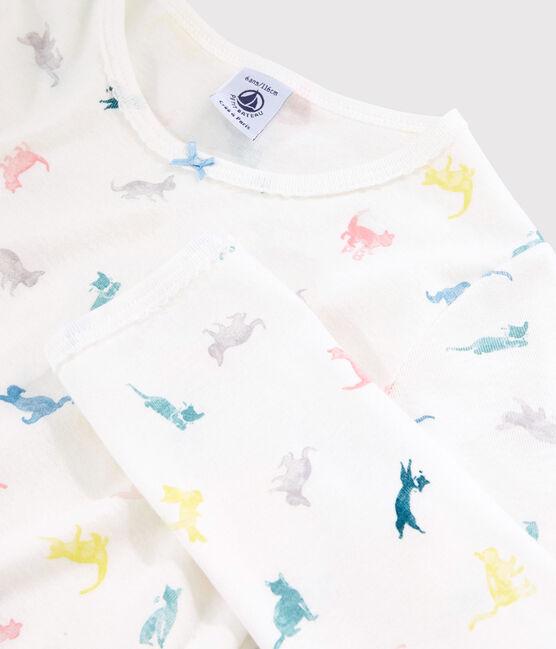 Girls' Cat Print Cotton Pyjamas Marshmallow white / Multico white