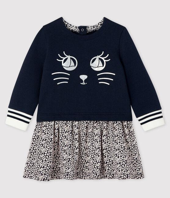 Baby girl's long-sleeved dress Smoking blue / Marshmallow white