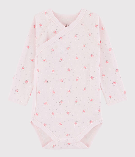 Baby Girls' Long-Sleeved Wrapover Bodysuit Vienne pink / Multico white