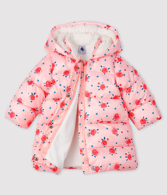 Baby girl's quilted puffer jacket Minois pink / Multico white