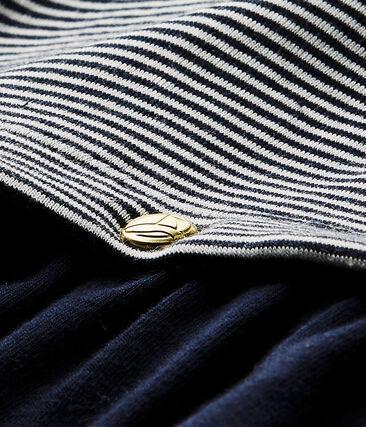 Baby girl's milleraies-striped dress Smoking blue / Lait white