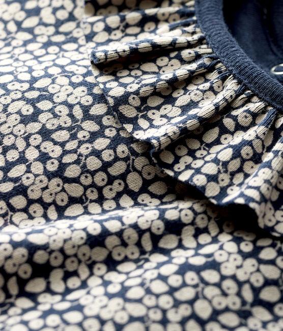 Baby girl's long-sleeved blouse Smoking blue / Marshmallow white