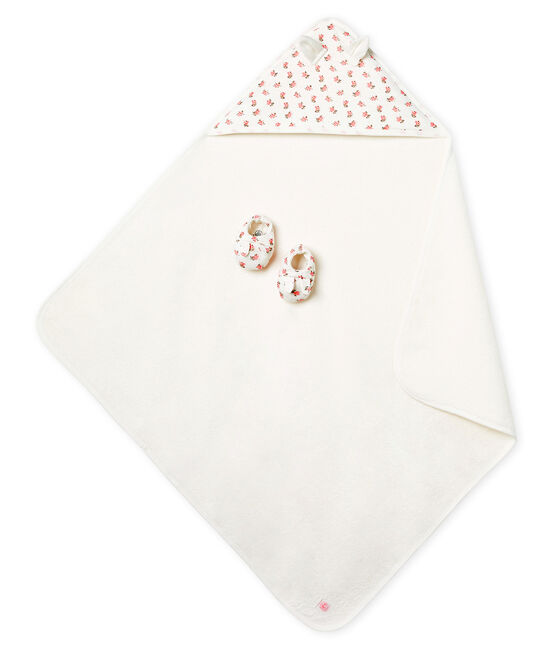Unisex Babies' Square Bath Towel and Bootees in Terry and Rib Knit Marshmallow white / Gretel pink