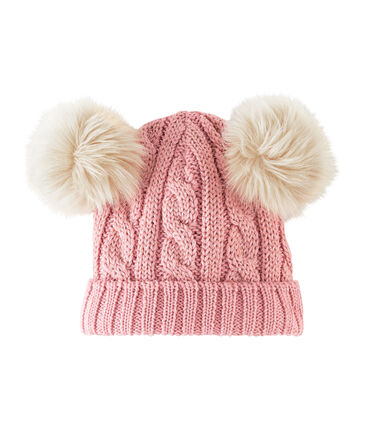 Girls' Woolly Hat Charme pink / Or yellow