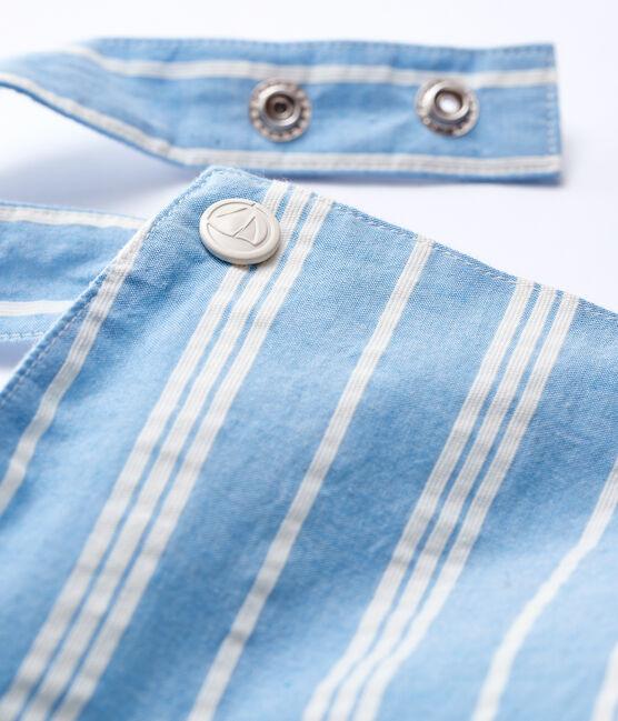 Baby Boys' Striped Poplin Dungaree Shorts Jasmin blue / Marshmallow white