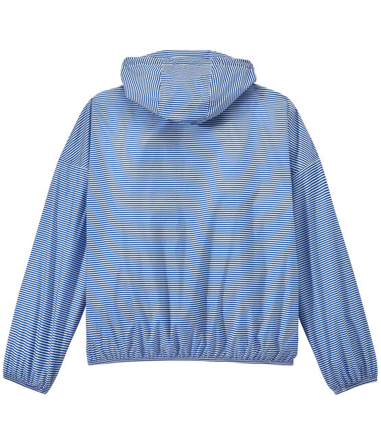 Unisex milleraies-striped waterproof windbreaker Perse blue / Marshmallow white