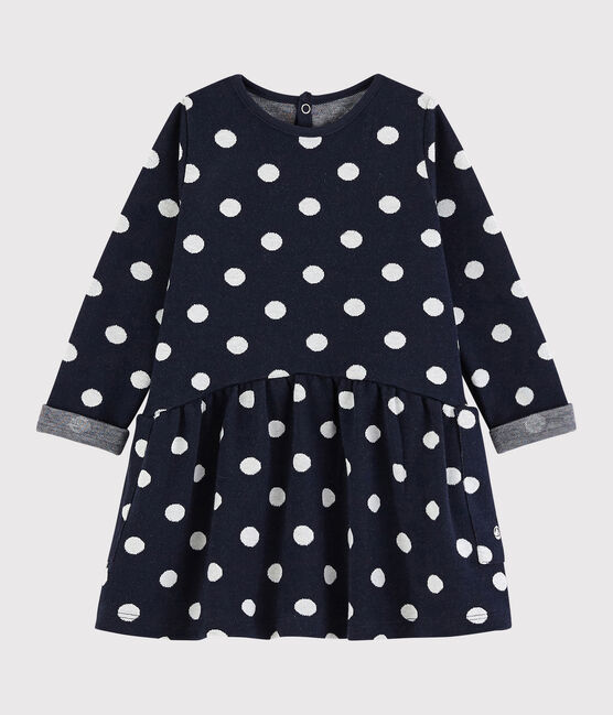 Baby girl's long-sleeved dress Smoking blue / Marshmallow white