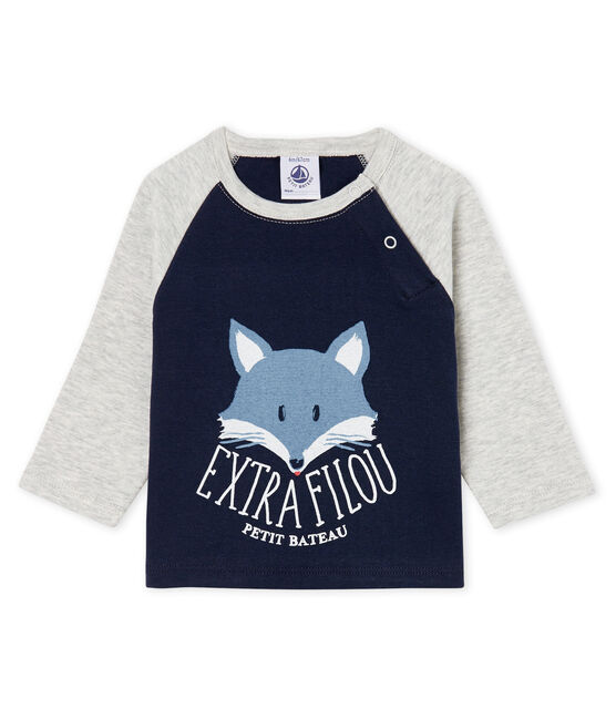 Baby Boys' Long-Sleeved T-Shirt Smoking blue / Beluga grey