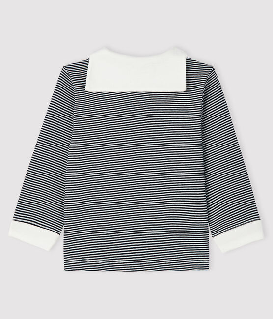 Baby boy's pinstriped t-shirt Smoking blue / Marshmallow white
