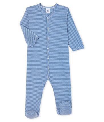 Dors-bien à rayures bleues bébé en côte Pablito blue / Marshmallow white