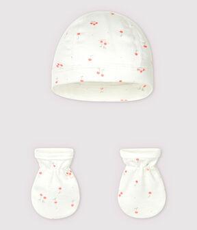 Newborn Babies' Organic Cotton Boat Bonnet and Mittens Set . set