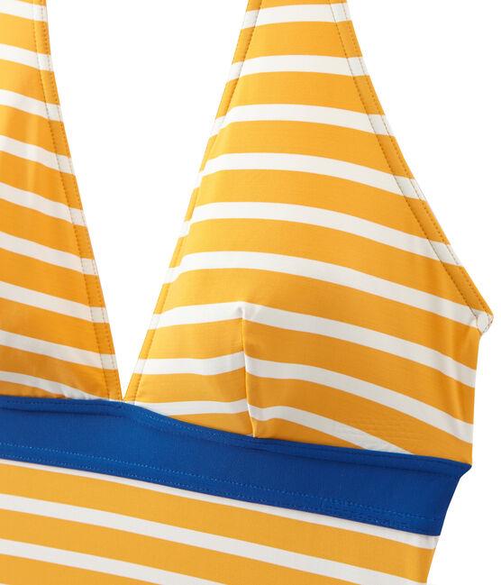 Women's striped one-piece swimsuit Fusion orange / Marshmallow white