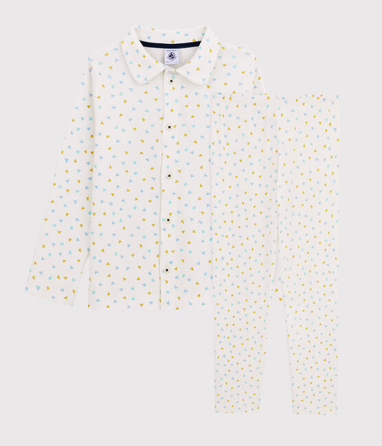 Boys' Triangle Print Ribbed Pyjamas Marshmallow white / Multico white