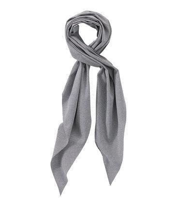 Women's milleraies-striped scarf Smoking blue / Lait white