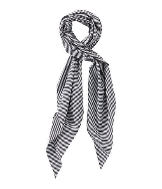 Women's milleraies-striped scarf Smoking blue / Lait white