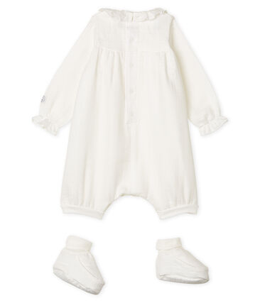 Set of Jumpsuit and Bootees in Easy-Wash Fabric Marshmallow white
