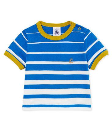 Baby boys' striped t-shirt Riyadh blue / Marshmallow white