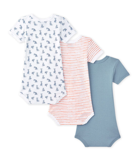 Set of 3 baby boys' short-sleeved bodysuits . set