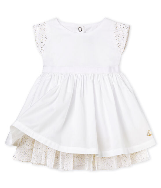 Baby Girls' short-sleeved Special Occasion Dress Ecume white
