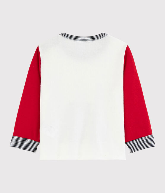 Baby boy's colourblock t-shirt Marshmallow white / Terkuit red