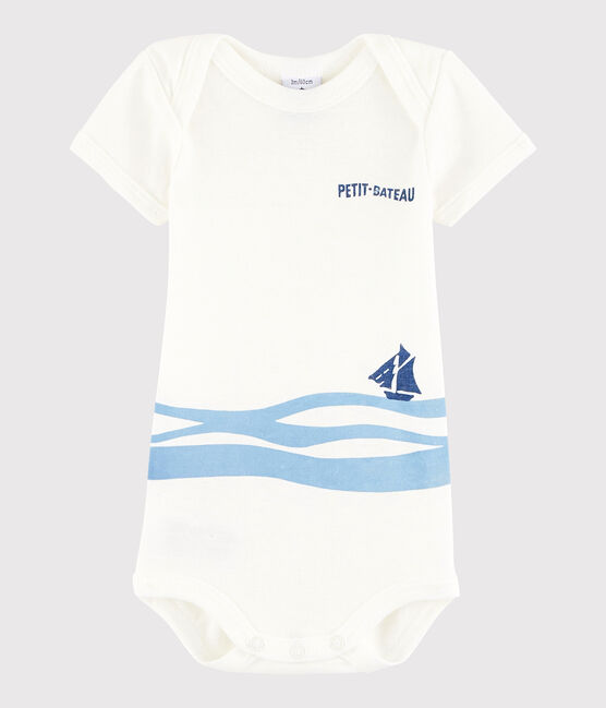 Unisex Babies' Short-Sleeved Bodysuit Marshmallow white / Jasmin blue