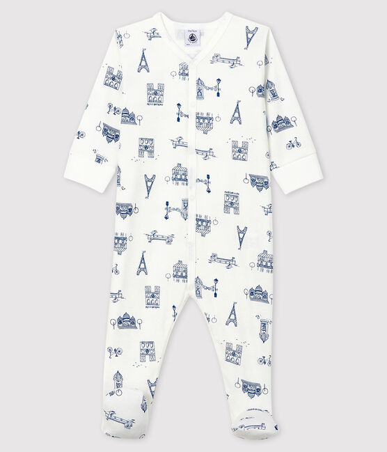 Babies' Paris Ribbed Sleepsuit Marshmallow white / Major blue
