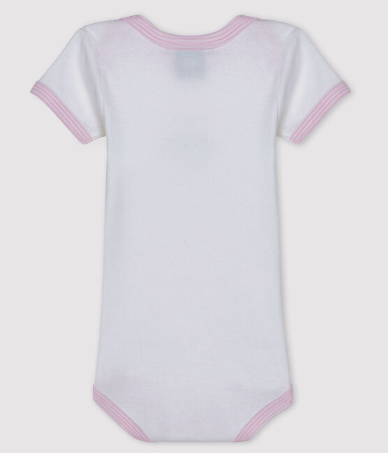 Baby girls' short-sleeved bodysuit Ecume white / Doll pink