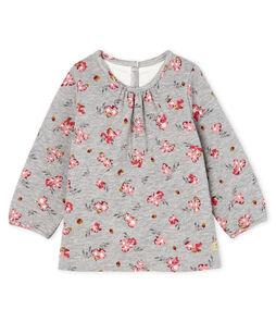 Baby Girls' Long-Sleeved Print Blouse Beluga grey / Multico white