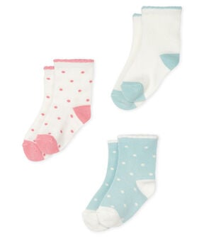 Set of 3 pairs of socks for baby girls . set