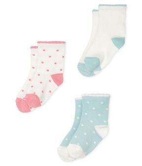 Set of 3 pairs of socks for baby girls . set