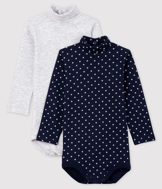 Pack of 2 long-sleeved bodysuits for baby girls . set