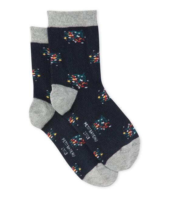 Girl's flower motif socks Smoking blue / Multico white